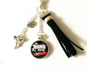 bag charm with cabochon 'Grandma she's deadly' Silver, Black Suede