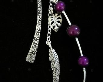 Jewel bookmark in silver, purple beads, feather and leaf