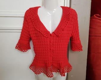 Vest red woman t.  38/40 Hand-knitted