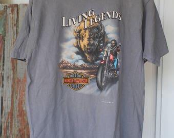 """Vintage 1992 Harley Davidson Key West """"Living Legends"""" T-Shirt 3D Emblem"""
