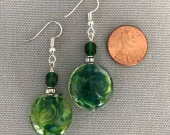Green Multicolor Swirl Bead Earrings