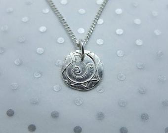 Handmade Silver Round Swirl Pendant