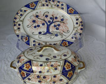 Nasco Miniature Hand Painted Covered Soup Tureen with Platter