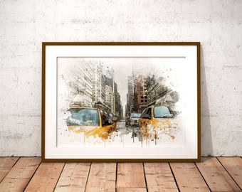 Downtown NY Watercolor Print, New York Taxis Print, Taxi Painting, Instant Download Wall Art, Home Decor, Times Square Watercolor Painting