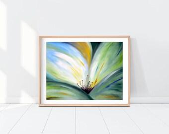 Original Flower Oil Painting, Printable Wall Art, Modern Flower Print, Instant Download Art Print, Home Decor, Green Blue Yellow Flower Art