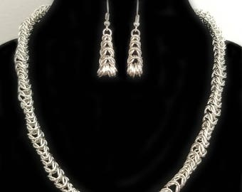 Silver Tapered Box Chain Chainmaille Necklace and Earring Set