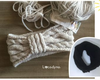 Headband grey or black, warm, soft and comfortable knit cables or sides English flower, wool and acrylic for all, holiday gift