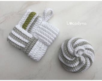 Sponges Tawashi-cotton acrylic Durable Scrubbies Crochet grey white dish kitchen cleaning Invitation gift bath room for all
