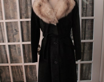 1970's Black Suede Trench Coat with Fox Fur Collar