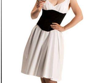 Tuck'N'Roll Dress Med with Full Skirt - White Black 1950's Rockabilly Pinup Dress