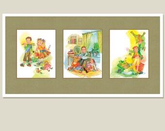 Nursery print with mat 16 x 32