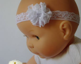 White lace baby flower headband