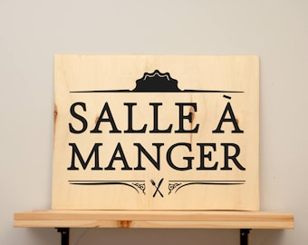 Salle à manger - vinyl on varnished wood (choose from 2 sizes and a range of colours) - Wall decor
