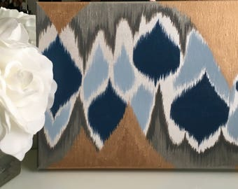 Blue, Gray, White and Gold Leaf Ikat Acrylic Painting
