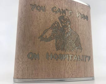 Troll 2 - You Can't Piss On Hospitality - 6oz Wood Wrapped Hip Flask