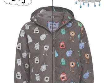 COAT magic grey monsters that changes color in the rain! Magic Colour Changing Raincoat Monster Grey