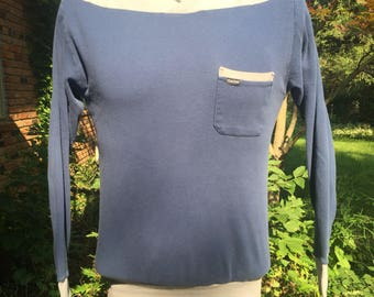 80s Calida Switzerland long sleeve cotton pullover Sz M Single breast pocket Elastic cuffs and waistband Yachting v-neck collar Navy, grey