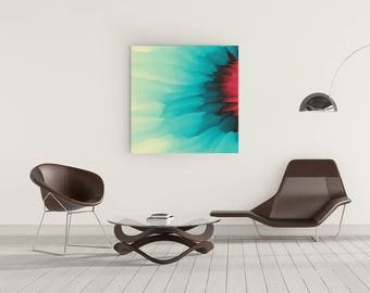WaterColor Canvas, Yellow, Blue and Pink Color Abstract Painting, Canvas Art