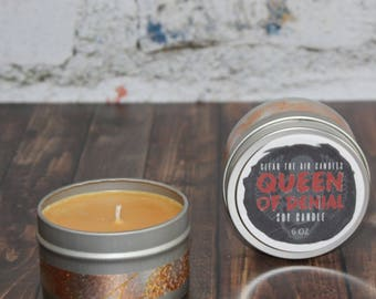 Queen of Denial Candle, Egyptian Amber Candle, Anti-Valentine Gift, Anti-Valentine Candle, Sensual Candle, Soy Wax Tin Candle, Tin Candle