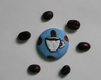 Embroidered Coffee Button with Metal Pin Back