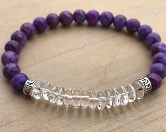 Men's Bracelet, Sugilite Bracelet, Clear Quartz Bracelet, Yoga Bracelet, Enhanced Spirituality, Mala Bracelet, Wrist Mala, Beaded Bracelet