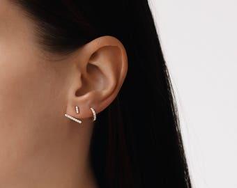 Ear Jacket  - Bar ear jacket earrings - Dainty earrings - Dainty ear jacket - Minimal ear jacket - Minimal jewelry, E068