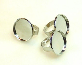 3 silvery ring cabochon 20 MM