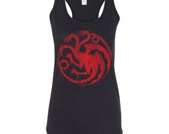 Game of Thrones Shirt. House Targaryen Dragon Tank Top. Mother of Dragons shirt. Game Of Thrones Tank Top. S - 3XL.