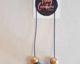 Blue and Gold 5 Bead Polymer Clay necklace