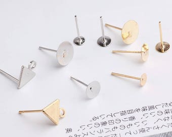 10pcs Flat Back Earring Studs Triangle Studs Earring Posts Gold Studs Sliver Earrings Studs Flat Pad Stud Earring DIY Jewelry Supplies