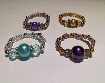 451. (Stretchy)  Pearl & Crystal Seed Bead Rings (Gold/Silver Plated)