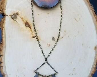 Sparkling Druzy Chalcedony Geometric Necklace