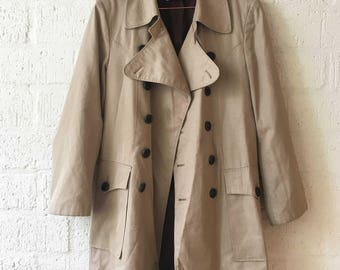 Vintage retro beige trench coat jacket size S