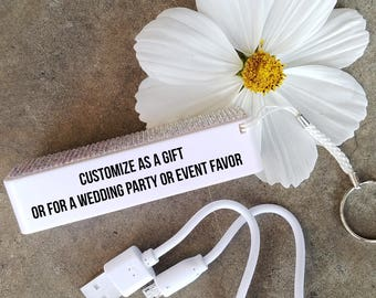 100 Personalized Smartphone Charger   Power Bank   iPhone Charger   Wedding Favors   Quinceanera Favors   Sweet 16 Favors   Portable Charger