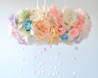 Flower mobile, Floral mobile,Floral Chandelier,decoration,Crystal Baby Mobile,Nursery Mobile,Romantic flower,Baby,gift for girl,valentines