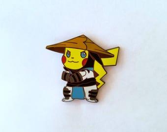 Pikachu raiden mortal kombat pokemon gaming gamer cartoon heady rave edm festival enamel pin lapel pin hat pin