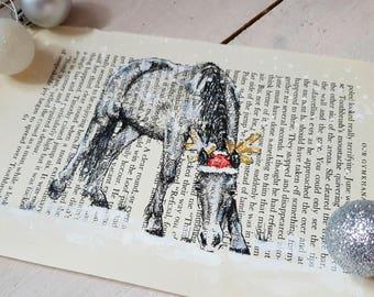 Festive OOAK Original Pen Ink Drawing Native Welsh Pony Santa Hat on Vintage Pony Book Page