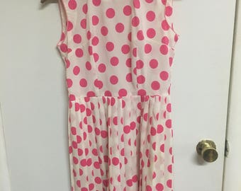 60's vintage tailor made pink polka dot dress