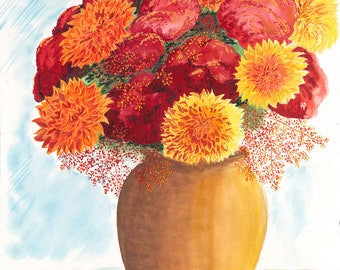 Dahlias Archival Giclée Print on Archival Fine Art Paper Made of Cotton