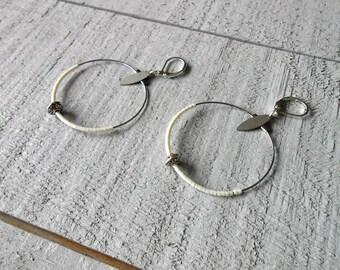 Silver Hoop, cream miyuki beads