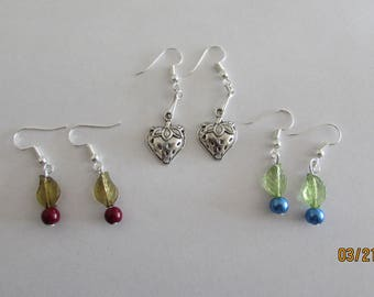 Mixed Berry Earrings, Blueberry, Cranberry and Strawberry
