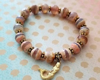 Agate Stone Mermaid Bead Bracelet
