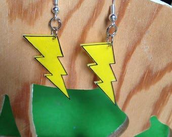 Yellow lightning earring