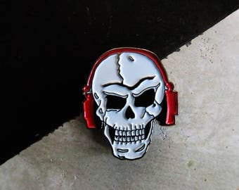 Rock Skull Pin with Headphones - Enamel Pin, Lapel Pin