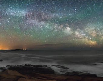 Milky Way Over Acadia National Park - Panorama - Maine - Bar Harbor - Night Sky - Unmounted Photographic Print - Various Sizes and Finishes