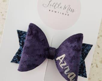 Navy Blue Velvet Personalised Bow