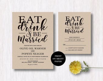 Eat Drink And Be Married Invitation Template Kraft Paper Modern Wedding  Invitation Printable Wedding Invitation Fully