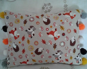 Fox/hedgehog/pompom cushion