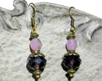 Crystal and pink and purple glass bead earrings