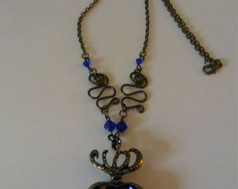 Necklace Large Blue Crystal Heart Pendant